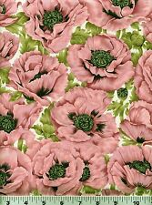 Fabric #2257 Pink Poppies Green Foliage on Cream Fabric Freedom Sold by 1/2 Yard