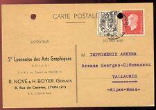 CARTE POSTALE LYON POUR VALLAURIS 1946
