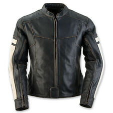 Black Brand Eternity Women's Jacket Motorcycle Black Cream Distressed YYK Md HB