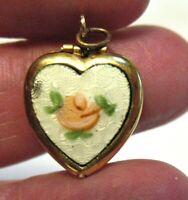 ANTIQUE GOLD FILLED HEART LOCKET FRENCH ENAMEL ROSE 12 X 15 MM 1.3 GRAMS