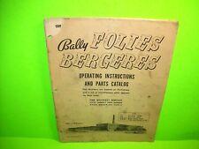 Bally Folies Bergeres Bingo Pinball Machine Original Operation & Parts Catalog