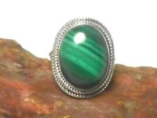 MALACHITE   Sterling  Silver  925  Gemstone  RING  -  Size:  Q
