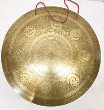 "F1055 Very Artistic Large Tibetan-Nepalese Hand Etched Temple Gong 22"" MI Nepal"
