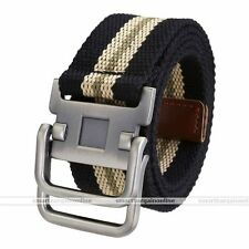 Army Style Pin Buckle Military Mens Sports Canvas Belt Double Ring Black Stripe