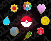Complete set of 8 Gold Kanto Gym Leader Badges Lapel Pins | Pokemon Series 1