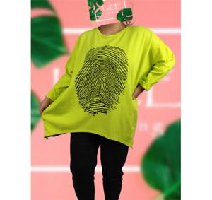 NEW Womens Double Zip Arch Oversize Finger Print Lagenlook Ladies Sweatshirt Top