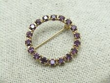 "Vintage Purple Rhinestone Circle Brooch 1"", 1960's"