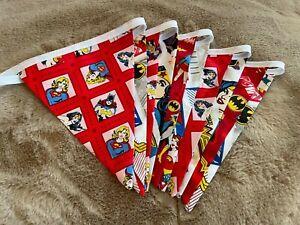 Batman, Superman, Superwoman, Wonderwoman, Super Hero Handmade Bunting - 10 flag