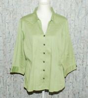 Avenue Woman's Ladies Button Down Blouse Top Plus Size 18W 20W Green 3/4 Sleeve