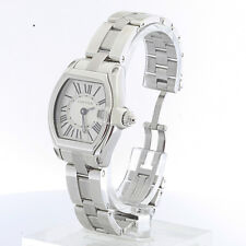 Ladies Cartier Roadster Stainless Steel White Roman Dial Date Watch 2675 w Pouch