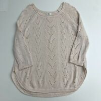 Old Navy Knit Pullover Sweater Women's XL Cream Crew Neck 3/4 Sleeve Casual Top