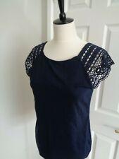 LAUREN Ralph Lauren Navy Crochet Lace Cap Sleeve Top size L