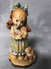 Vintage Anri Italy WoodCarving Girl With Her Dog & Puppy By Sarah Kay Valentine