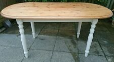 LARGE SOLID PINE COUNTRY/FARMHOUSE OVAL SHAPED DINING TABLE COLOUR OF CREAM.
