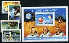 Briefmarken Sao Tome und Principe 1980 Mondlandung 646 - 649 + Bl 45 ** BR367