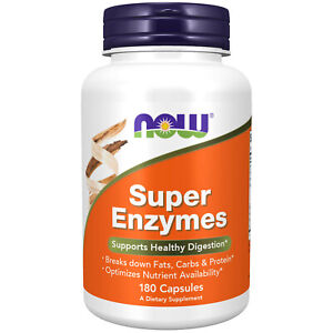 Now Super Enzymes - 180 Capsules Made in USA FREE SHIPPING