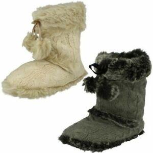Ladies Spot On Slip On Boot Slippers