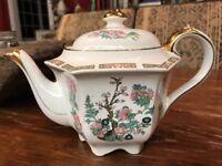 Antique Sadler Hand Painted Dogwood Asian Gold Teapot Coffee Pot England Signed