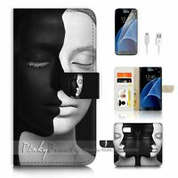 ( For Samsung S7 ) Wallet Case Cover P1604 Black White Face