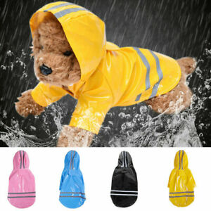 Waterproof Pet Dog Outdoor Raincoat Puppy Reflective Hooded Jacket Coat Clothes