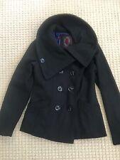 SUPER CUTE! Dollhouse BLACK Wool Blend Pea Coat Jacket Womens Juniors S SMALL