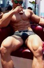 Shirtless Male Muscular Super Big Chest Thighs Bodybuilder 4X6 PHOTO C2078