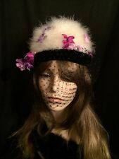"Vintage 50's Gertz Long Island White Marabou Flower Hat w Veil & Hatbox Sz 21.5"""
