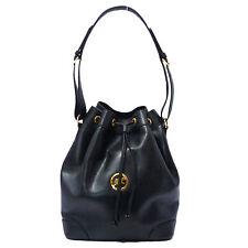 Authentic Hunting World Draw String Shoulder Bag Black Leather #K160523