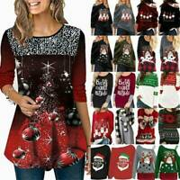 Christmas Womens Xmas Santa Sweatshirt Pullover Jumper T-Shirt Tops Plus Size