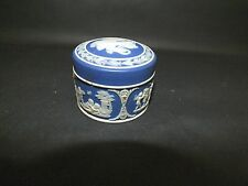 Victorian Wedgwood Blue Jasper Ware Vanity Pot & Cover dated 1889