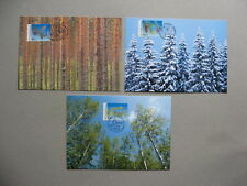 FINLAND, 3x maximumcard maxi card 2002, trees fir-cone
