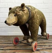 RARE 1930s STEIFF- LARGE BROWN MOHAIR GROWLING GRIZZLY BEAR on WHEELS -FF BUTTON