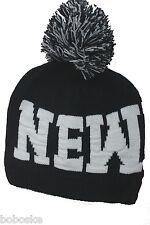 """Bonnet noir mixte """"NEW YORK"""" 100% ACRYLIQUE neuf, de taille unique"""