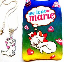 AristoCat Marie Charm Pendant on Silver Snake Chain Necklace with Soft Pouch