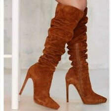 Sexy Women Pointy Toe Zipper Suede Fabric Ruched Pattern Knee High Thigh Boots