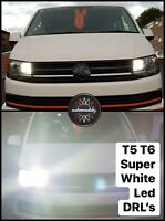 VW T5.1 T6 Transporter LED DRL Headlight Upgrade Bulbs Super Bright 2010+
