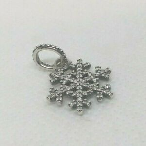 Authentic PANDORA Sterling Silver CZ Pendant/Charm SNOWFLAKE #390354CZ