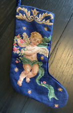 "Imperial Elegance 15"" Needlepoint Angel Stocking Christmas Cherub Victorian Wool"