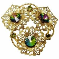 Watermelon Rivoli Crystal Flower Pin Brooch in Gold, Early-Mid 1900s