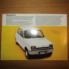 RENAULT 5 L TL Hatch Hatchback UK Market Sales Brochure Leaflet Flyer 1972