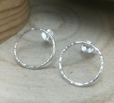 Sterling Silver Circle Hoop Earrings Handmade Contemporary Geometric Studs