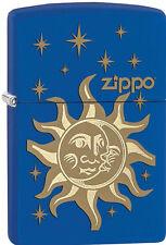 Zippo Windproof Royal Blue Matte, Sun, Moon & Stars Lighter, # 28791, New In Box