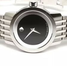 Movado Saphire 0606645 Stainless Steel Black Dial Ladies Watch 0105