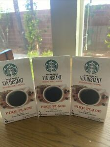 3 Boxes Starbucks VIA Instant Coffee Pike Place Colombia Exp 10/21