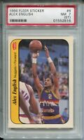 1986 Fleer Basketball Sticker #4 Alex English Card Graded PSA Nr MINT 7 ST
