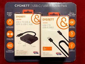 Cygnett - USB-C/USB-A Bundle Pack 2m USB-C to USB-A Cable & USB-C to USB-A, HDMI