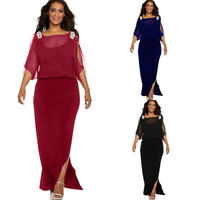 Plus Size Women Half Sleeve Slit Long Dress Boho Evening Party Beach Maxi Dress