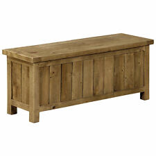Rough Sawn Solid Pine Ottoman Storage Stool Blanket Toy Box Chest