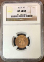 :1906 1C INDIAN CENT LOW-POP KEY-DATE NGC SELECT MS-64-RB HIGHEST-GRADES DEAL