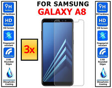3x Genuine 100% TEMPERED GLASS Screen Protector Covers For Samsung Galaxy A8